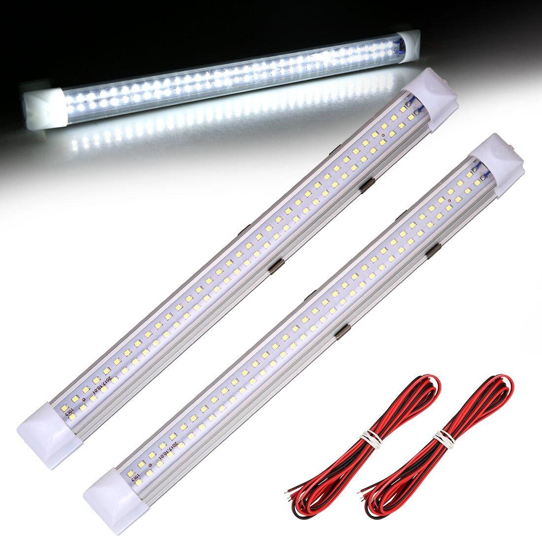 SUPAREE Tube LED Eclairage Inté rieur Lampe Barre de Bande avec Interrupteur ON/OFF pour Voiture, Camion, Vé hicule, Camping Car, Bateau, Plafonnier (72 LEDs DC 12 V-24 V) (2pcs) Véhicule