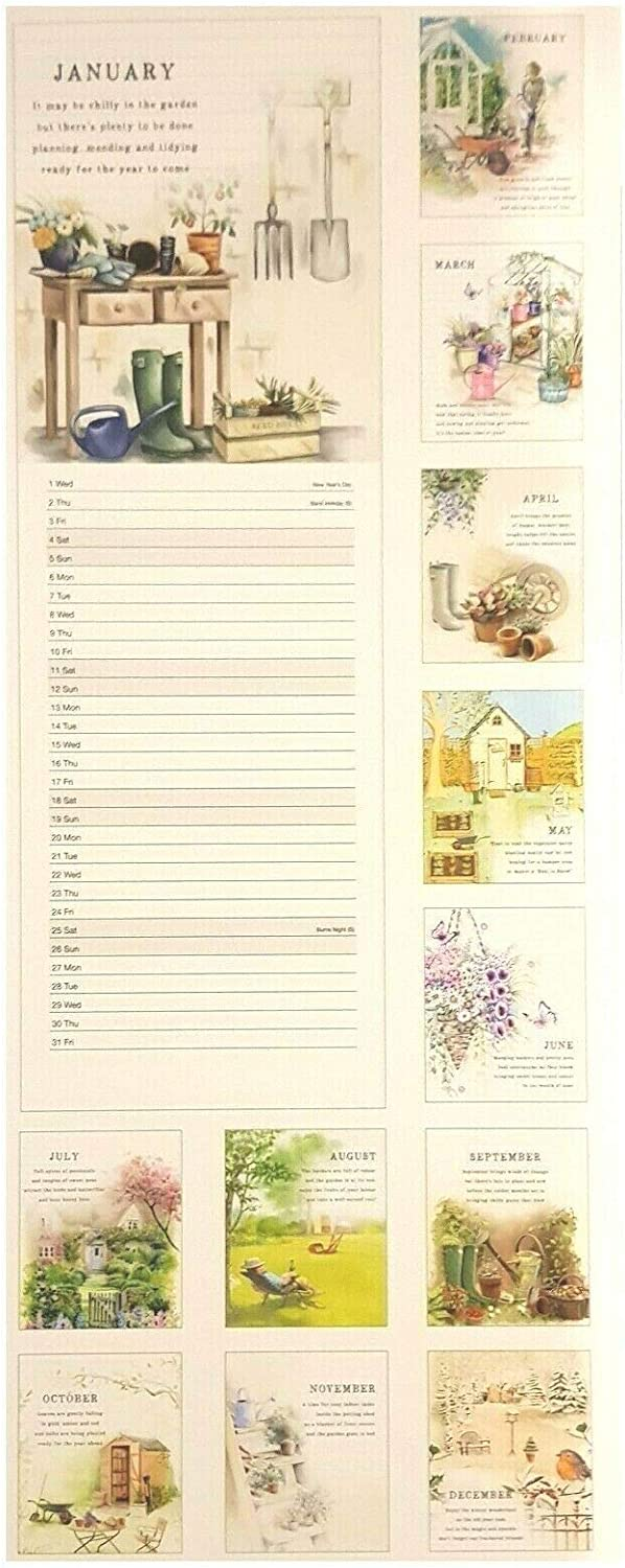 2020 Garden Lovers Tall Slim Wall Calendar Gift Envelope Sealed with Pen Christmas Gardening Quotes