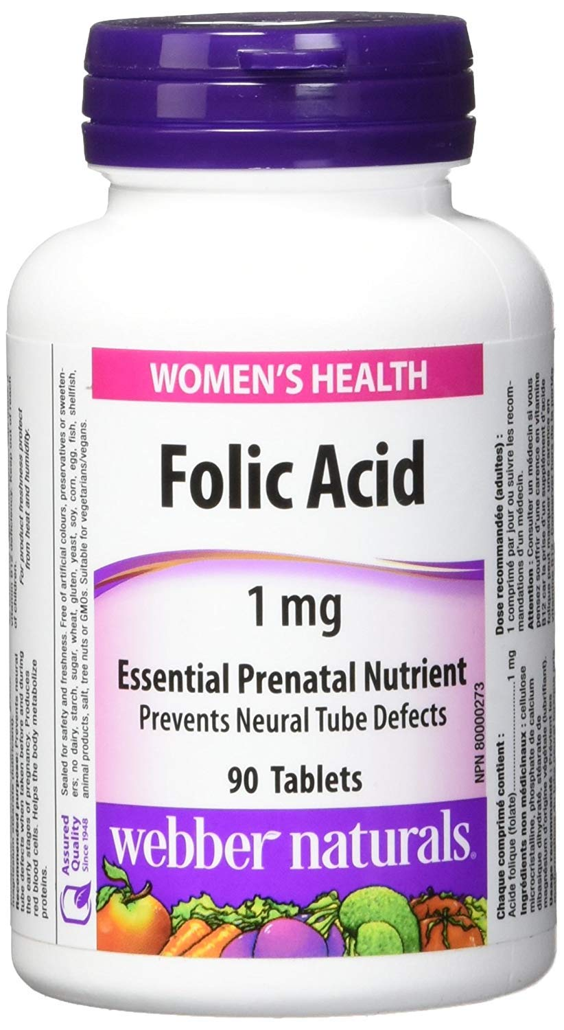 WEBBER NATURALS Folic Acid 1mg 90 Tablets