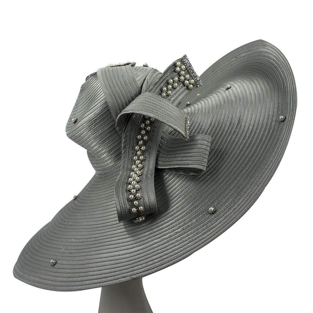 Dark Grey Kueeni Women Hats Hot Red color Church Hats Lady Party Wear Fedoras Hats
