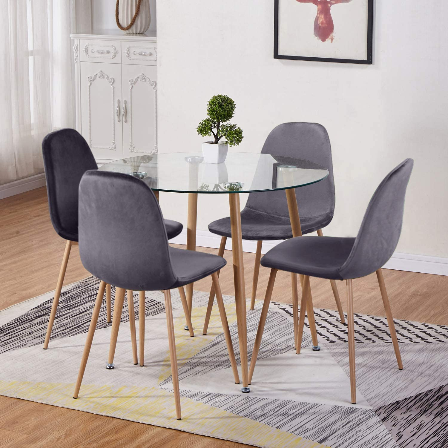 Goldfan Round Glass Dining Table And 4 Chairs Kitchen Dining Table And Grey Fabric Velvet Chairs With Metal Legs Dining Room Set Amazon Co Uk Kitchen Home