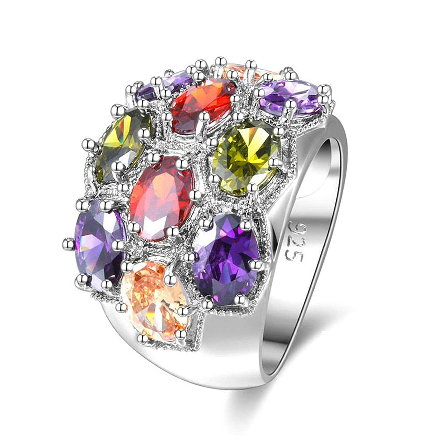 AMDXD Jewelry Silver Plated Wedding Rings for Women Colorful Flower Oval CZ
