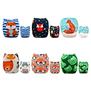 ALVABABY Pocket Cloth Diapers Reusable Washable Adjustable for Baby Boys and Girls,6 Pack with 12 Inserts 6DM43