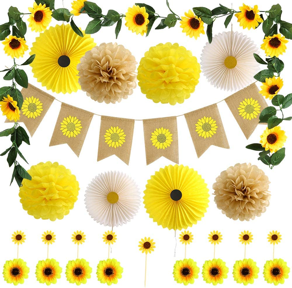 Auihiay 27 Pieces Sunflower Party Decorations Set Include Sunflower Banner, Artificial Sunflower Garland, Sunflower Heads Cake Toppers, Paper Fans Pom Poms for Birthday Party Wedding Baby Shower Decor