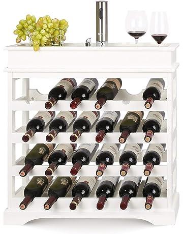 HOMFA Botellero de Madera para 24 Botellas de Vino Apilable con bandeja Botellero Estante de Vino