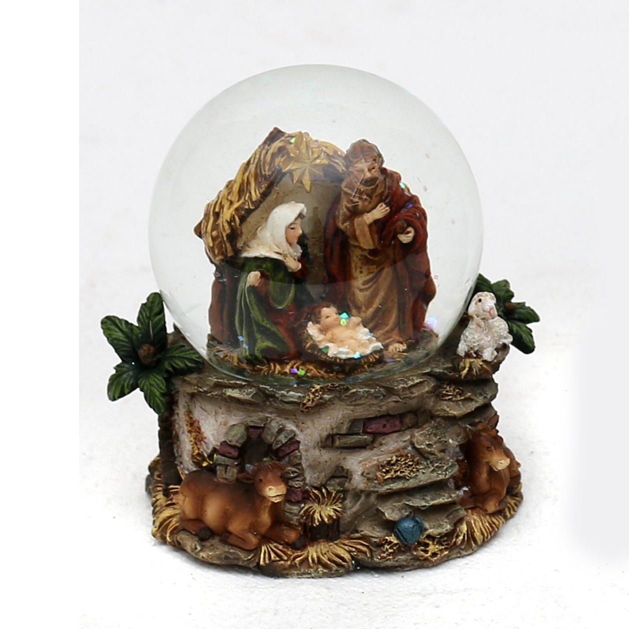 Tama/ño aprox /Ø 4,5 cm Hermoso globo de nieve con sagrada familia