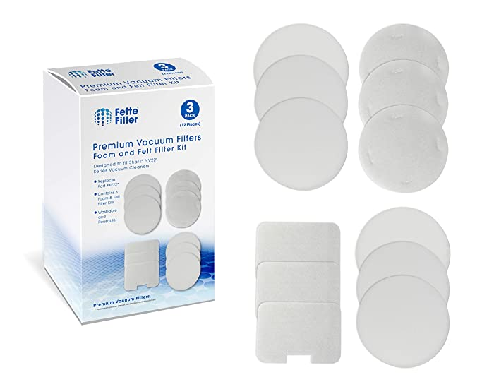 Fette Filter - Vacuum Filters Compatible with Shark Navigator Models NV22, NV22L, NV26, NV27, UV400. Compare to Part # XF22. 3 - Pack of Foam and Felt Filters
