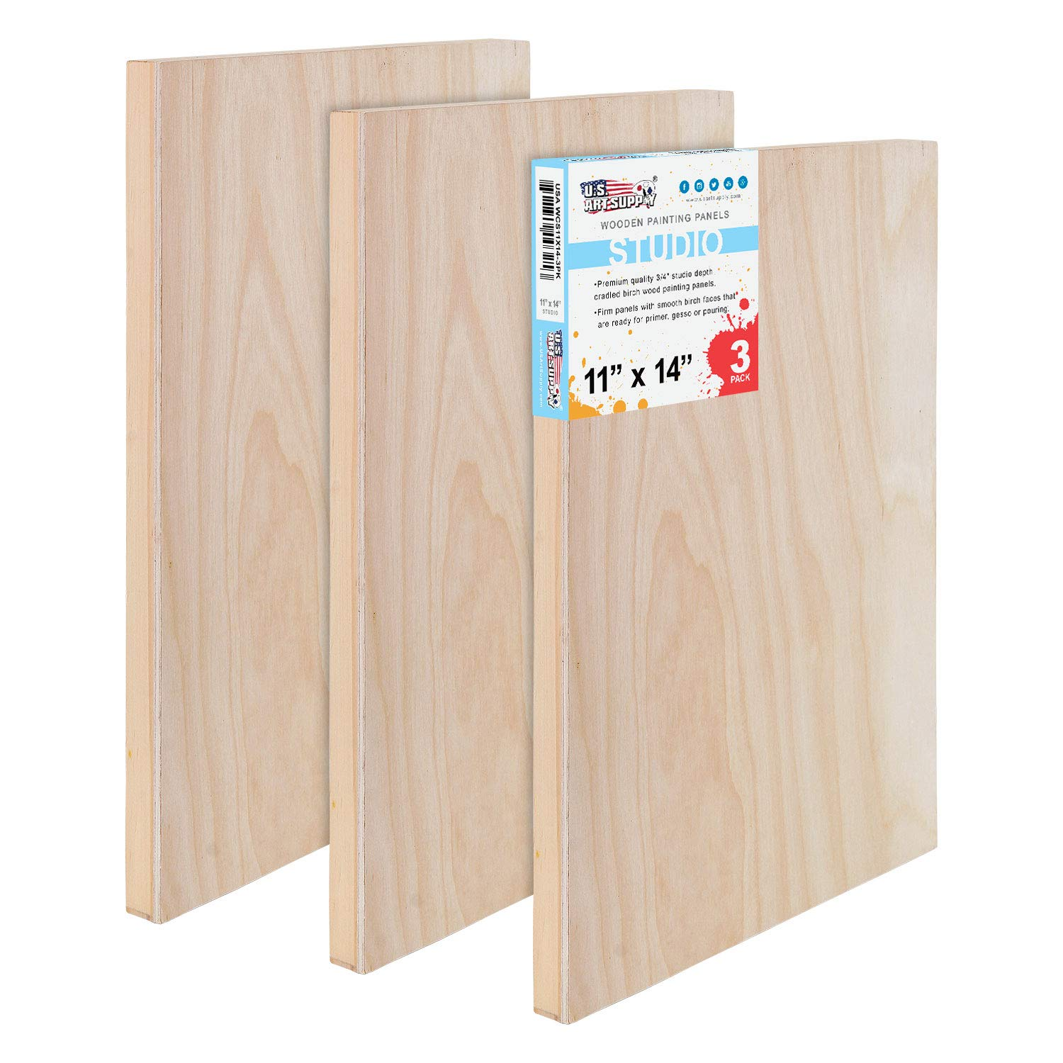 U.S. Art Supply 11'' x 14'' Birch Wood Paint Pouring Panel Boards, Studio 3/4'' Deep Cradle (Pack of 3) - Artist Wooden Wall Canvases - Painting Mixed-Media Craft, Acrylic, Oil, Watercolor, Encaustic
