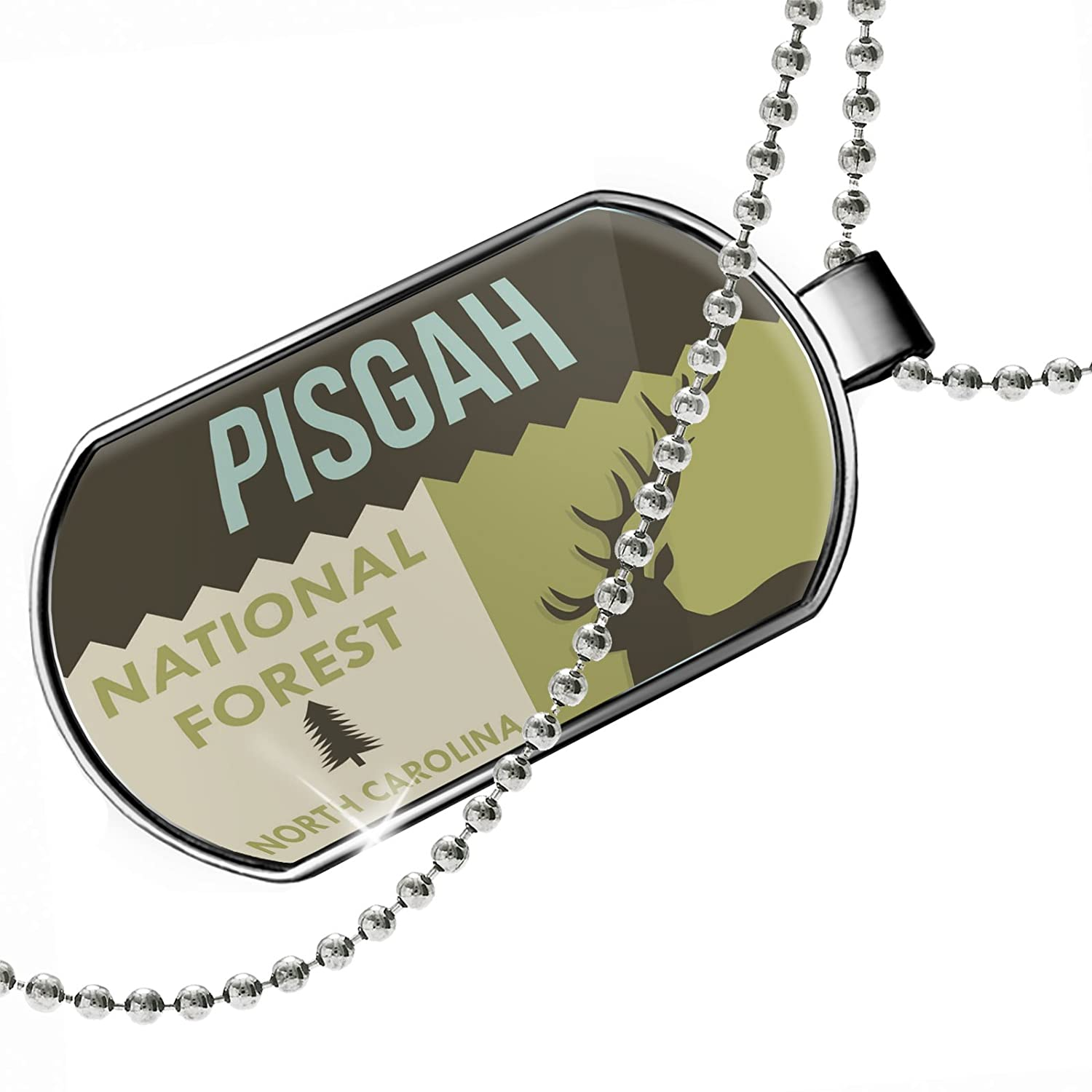 NEONBLOND Personalized Name Engraved National US Forest Pisgah National Forest Dogtag Necklace