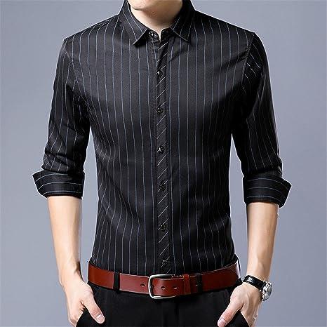 Hombres camiseta caliente _ Invierno Hombre de rayas acolchada de felpa casual de manga larga camisa de manga larga, Negro, XXL: Amazon.es: Deportes y aire libre