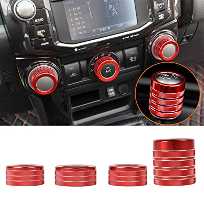 ZTYCKJ Red Gear Shifter Knob Stick Head Lever Cover Trim Air Conditioning AC Switch Button Decorative Cover for Toyota 4Runner TRD Pro Offroad Car Styling Accessoies 2010-2020 2020 (4PCS Red): Automotive