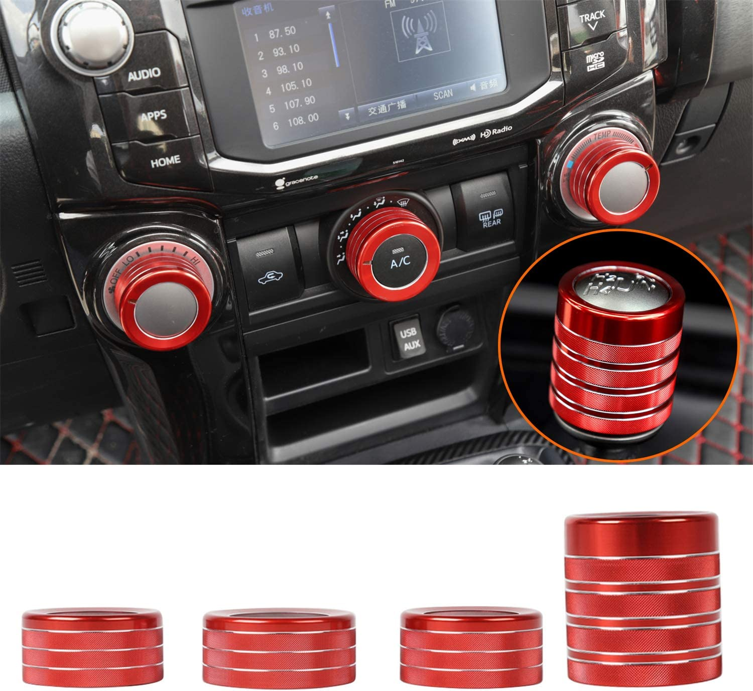 Red ZTYCKJ Gear Shifter Knob Stick Head Lever Cover Trim for Toyota 4Runner TRD Pro Offroad Car Styling Accessoies 2010-2019 2018