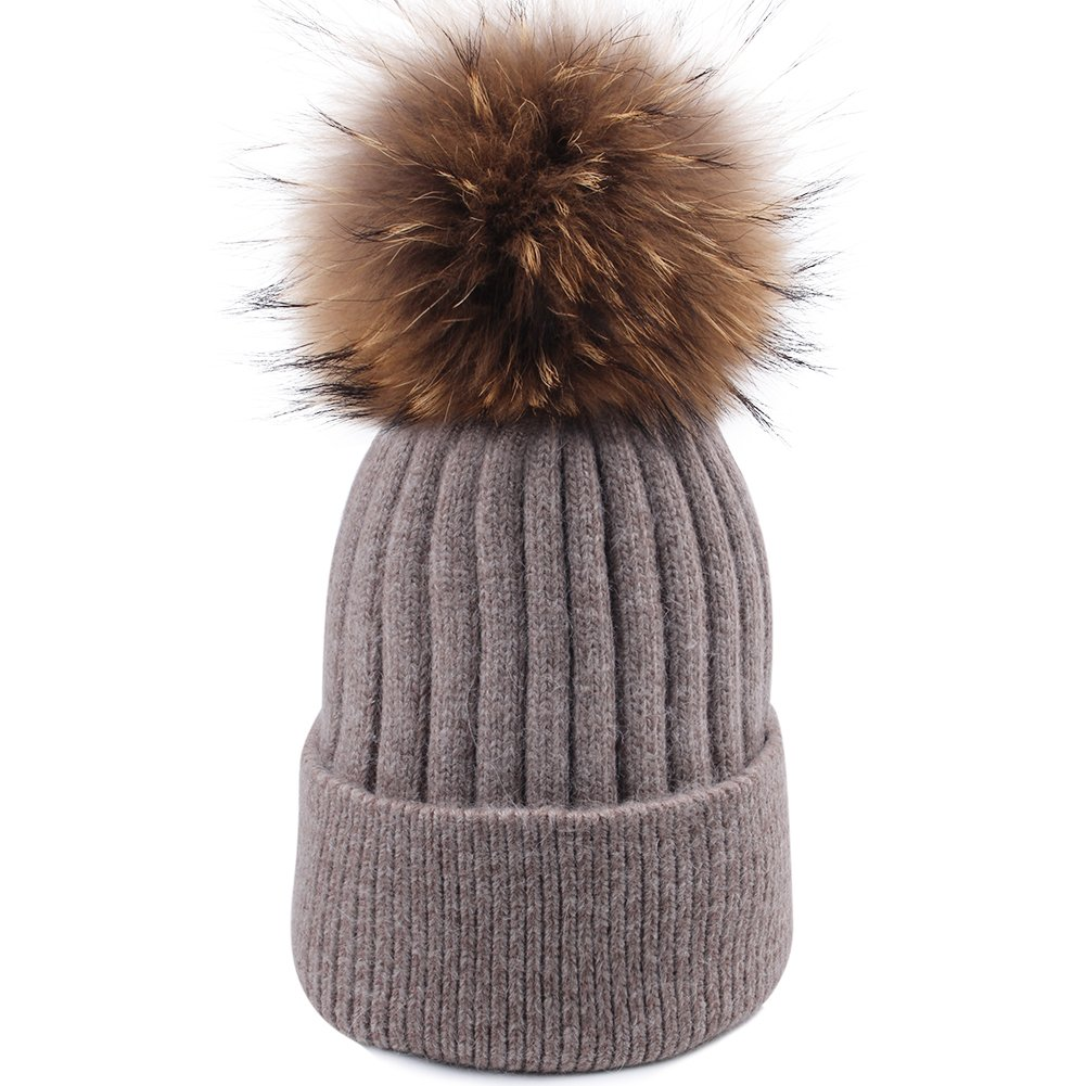 Womens Winter Knit Beanie Hats Real Fur Pom Cashmere Blended Skull Cap Ski Hat haoturongpomhat-black