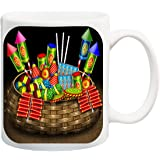 ME&YOU Best Festival Blessing Gifts for Family Relatives Neighbors and Your Loved Ones On Diwali; Crackers Printed Ceramic Mug