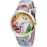 Damen Uhr, OverDose Christmas Weihnachten Ältere und Baum-Muster-Leder-Band-Analog-Quarz-Mode-Uhren (Grau)