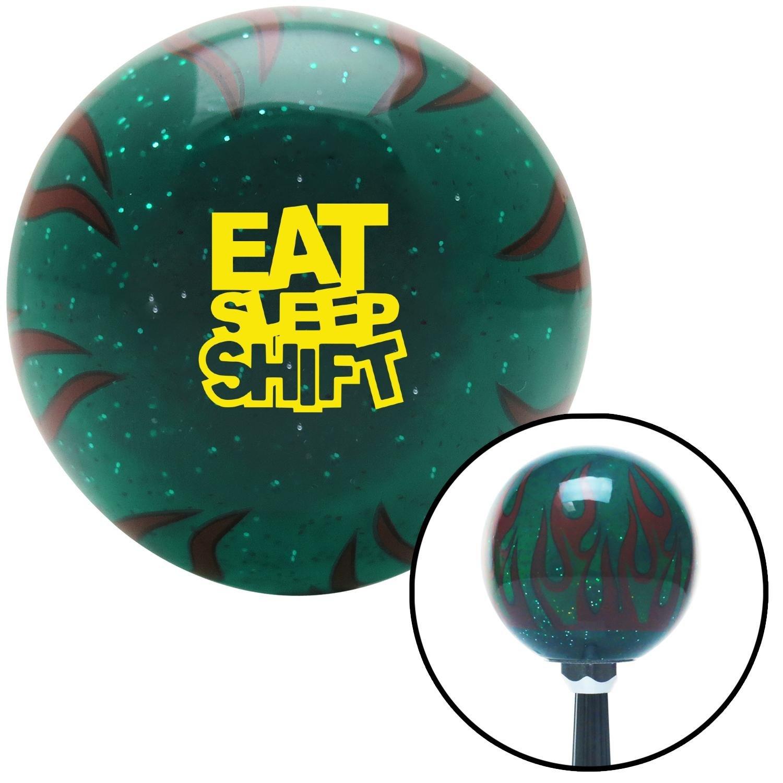 American Shifter 300205 Shift Knob Yellow Eat Sleep Shift Green Flame Metal Flake