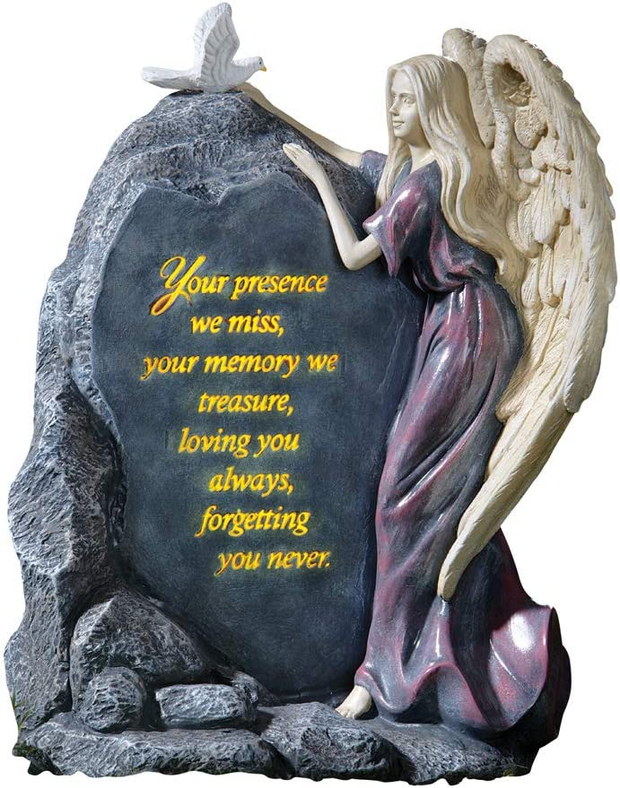 Collections Etc Precious Angel Lighted Memorial Stone, Multi-Color