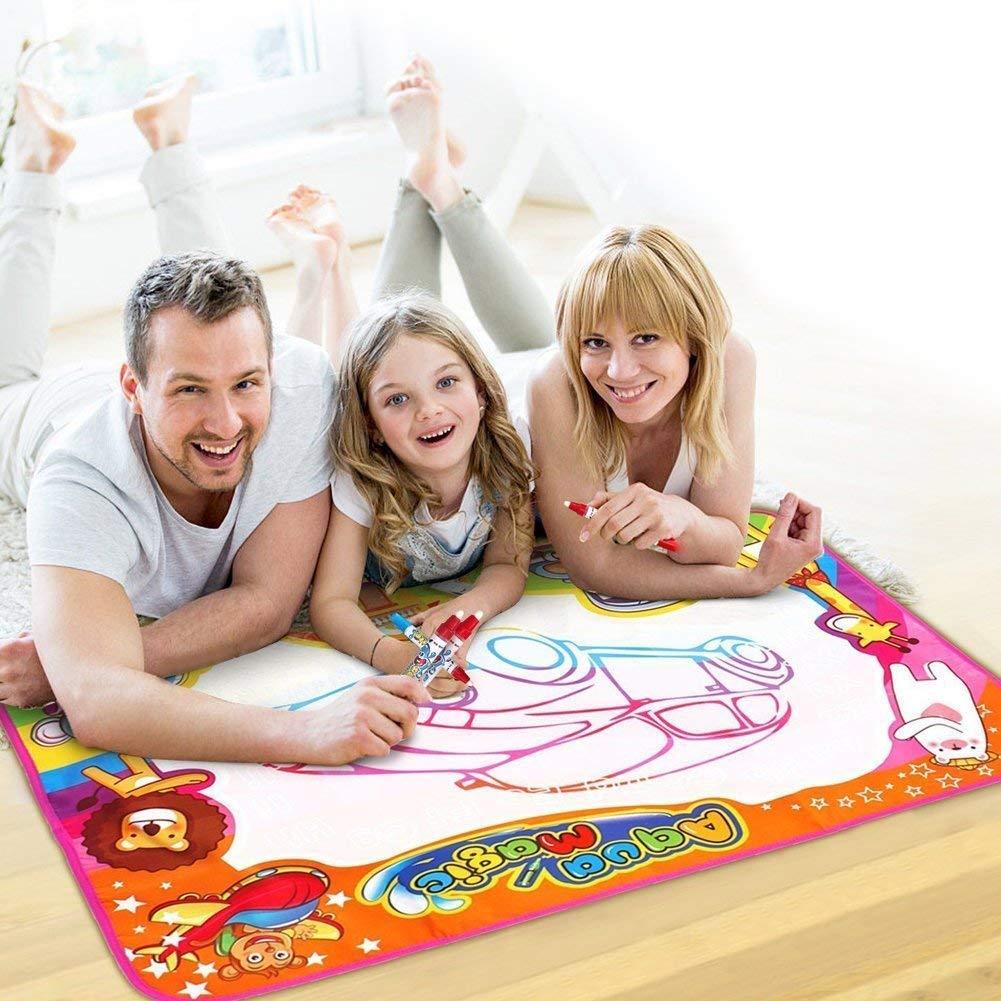 30.3/'/' x 30.3/'/' JIXUN Aqua Magic Doodle Mat,Kids Large Water Drawing Mat Painting Board with 2 Magic Pens,1 Magic Brush and 8 Molds,Educational Toy Gift for Boys Girls,30.3 x 30.3 34/'/'23/'/' 3423