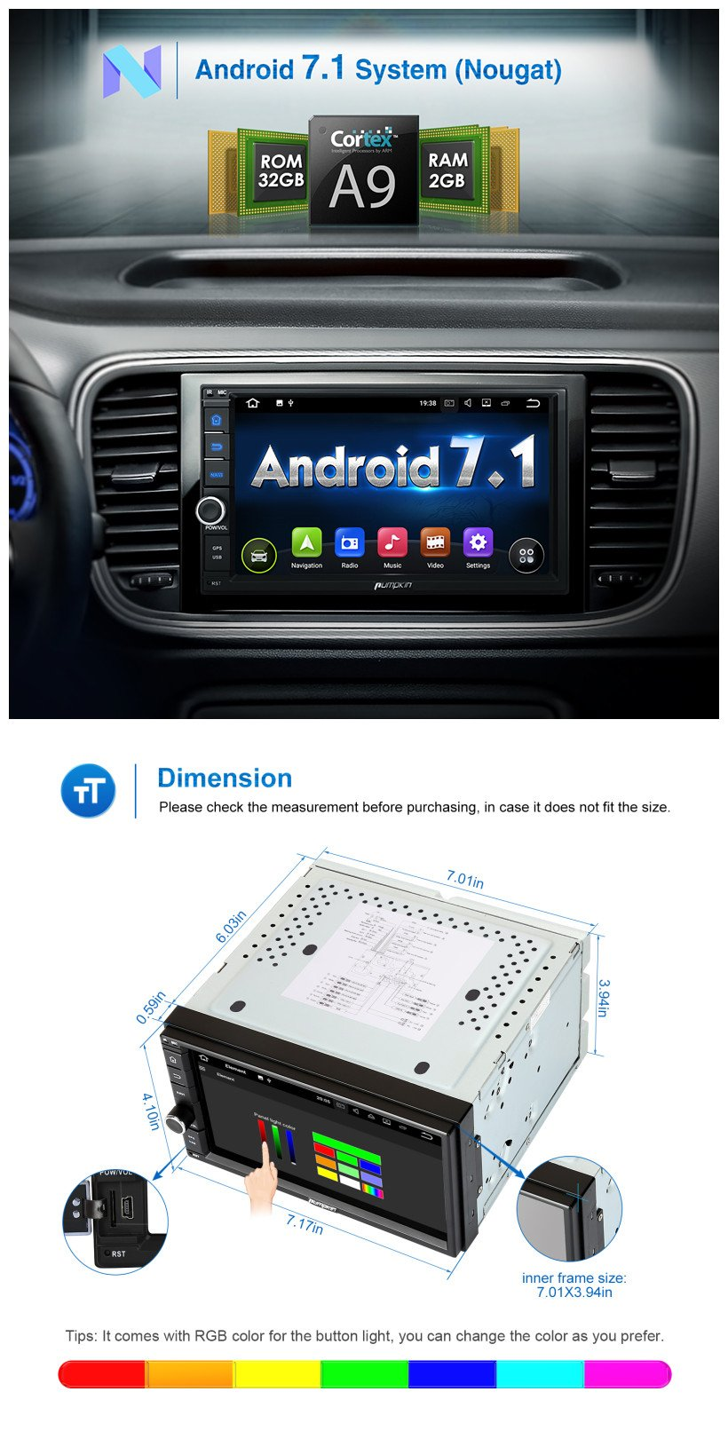 2GB 32GB Android 7.1 Car Stereo - Double Din Bluetooth 4.0 Radio - Support Fast Boot, GPS Navigation, USB/SD, 3G WIFI, Mirror Link, Backup Camera, AV-Out, OBD2, DVR, Subwoofer by PUMPKIN (Image #2)