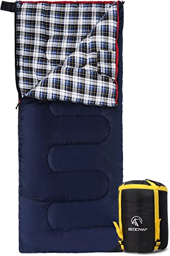 REDCAMP Cotton Flannel Sleeping Bags for Camping, 3-Season Warm and Comfortable Adult Sleeping Bag, Envelope with 2 3 4lbs Filling
