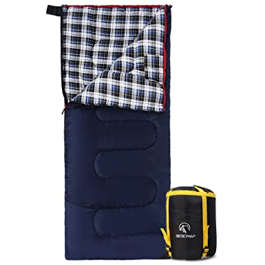 REDCAMP Cotton Flannel Sleeping Bags for Camping, 41F/5C 3-4 Season Warm and Comfortable, Envelope Blue with 2/3/4lbs Filling (75 x33 )