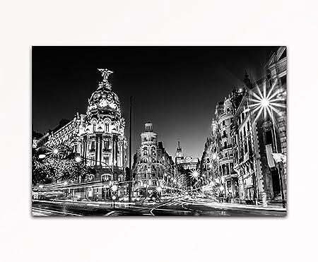 Su bilder24. de – gran via Madrid España Calle Negro/Blanco Sobre Lienzo con bastidor, imagen XXL