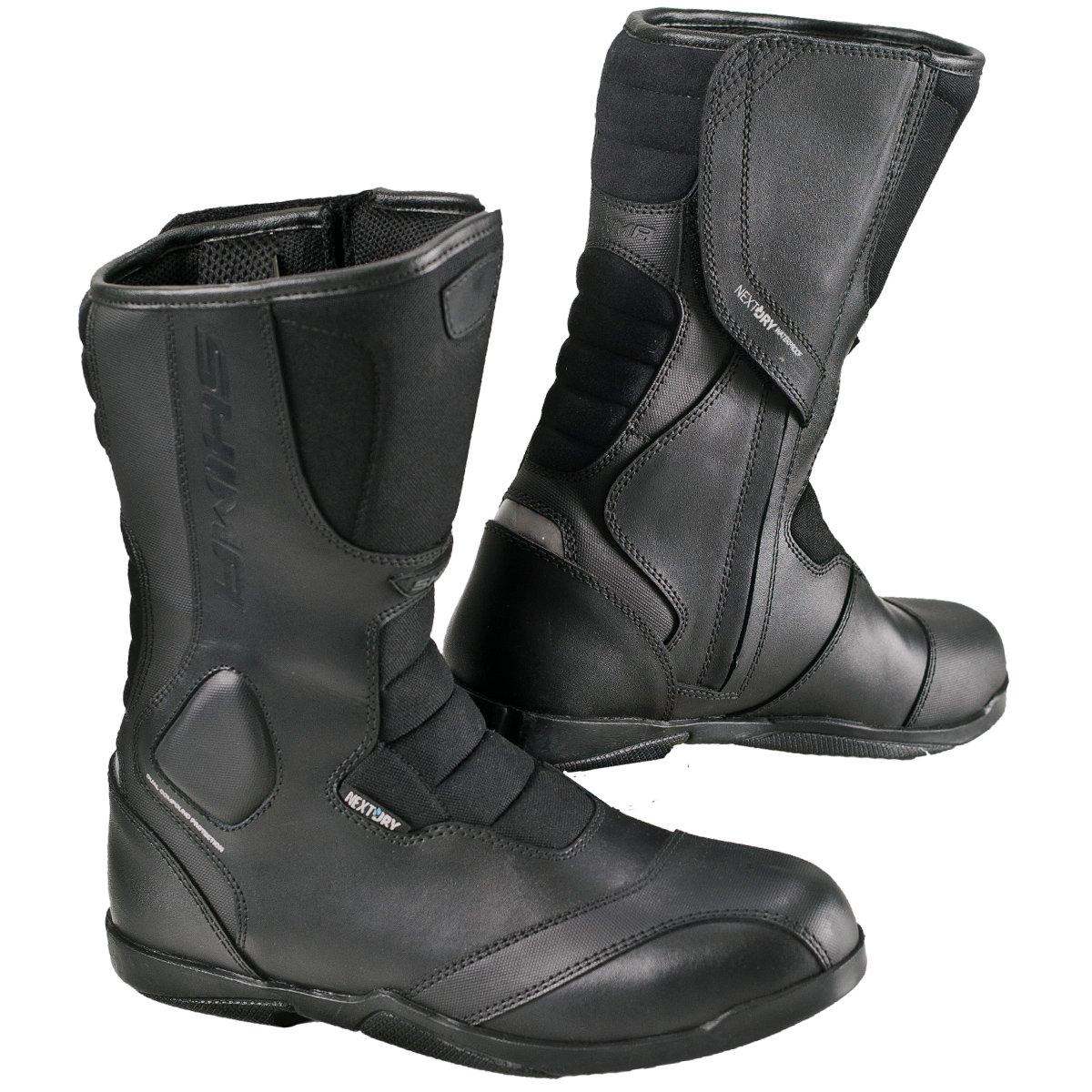 SHIMA STRADA MEN, Road Sport Retro Leather Classic Black Motorcycle Boots (44, Black)