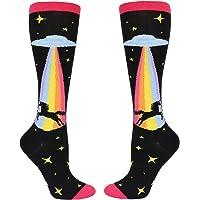 Women's Girls Novelty Over Calf Knee High Socks Funny Crazy Rainbow Unicorn Shark Attack Boot Sock