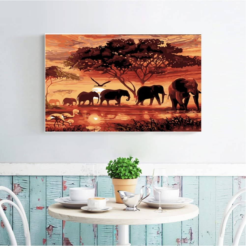 Elephants in The Sunset Cascaba 5D Diamond Painting Full Diamond Covered DIY by Number Kits for Decor