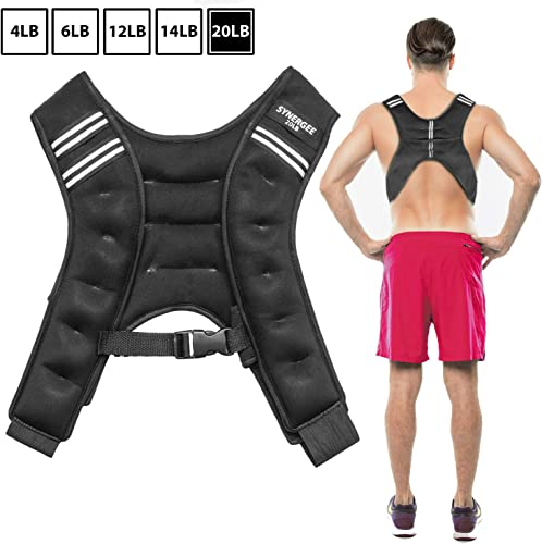 Synergee Weighted Vest Infinity Vest Workout Equipment – Body Cardio Walking or Running Vest – 4lbs, 6lbs, 12lbs, 14lbs, 20lbs
