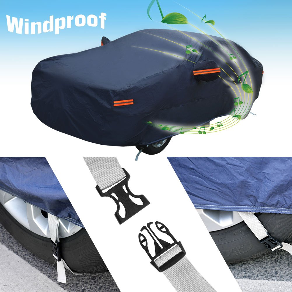 Breathable All Weather All Season Soft Aluminum Seamless Full Rain Sun UV Snow Dust Wind Resistant Outdoor Indoor Fits up to 192 Inches YITAMOTOR Waterproof Car Cover Silver