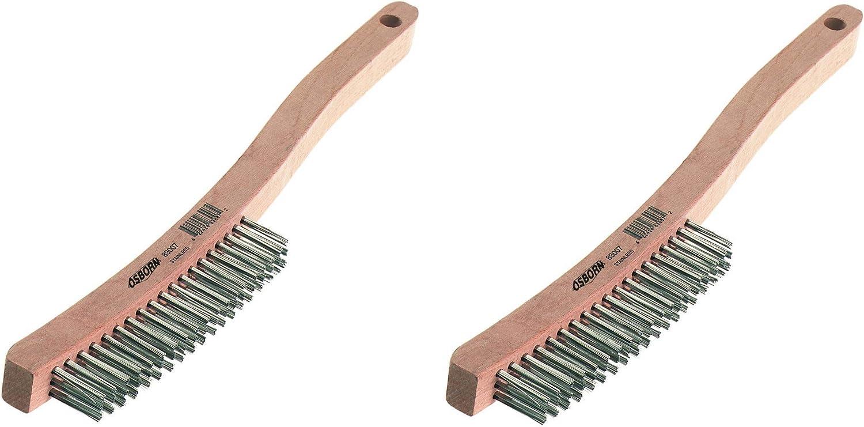 6 Length Stainless Steel Bristle 1-1//8 Width Brush Osborn 83101 Economy Curved Handle Heavy DuScratch Brush Тhrее Pаck 13-11//16 Overall Length