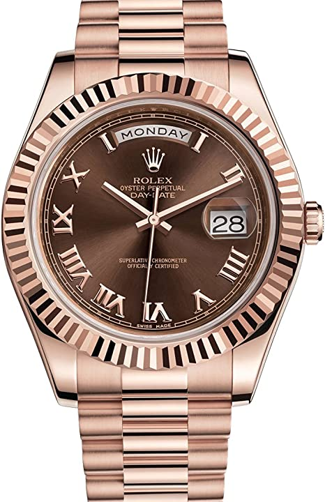 Rolex Day,Date II 41 President Everose Gold Watch Chocolate Dial 218235