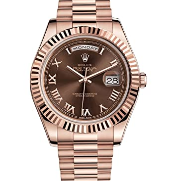 653c91fe24d Amazon.com: Rolex Day-Date II 41 President Everose Gold Watch Chocolate Dial  218235: Watches