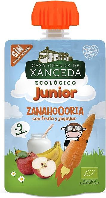 Bolsita de fruta y zanahoria con yogur ecológico de Casa Grande de Xanceda -14 uds x 90g
