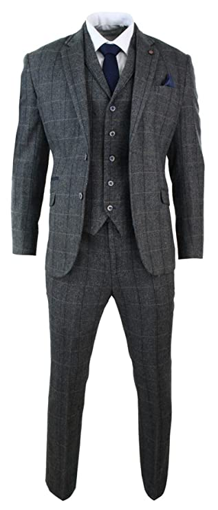 1900s Edwardian Men's Suits and Coats Cavani Mens 3 Piece Classic Tweed Herringbone Check Grey Navy Slim Fit Vintage Suit Charcoal $149.99 AT vintagedancer.com