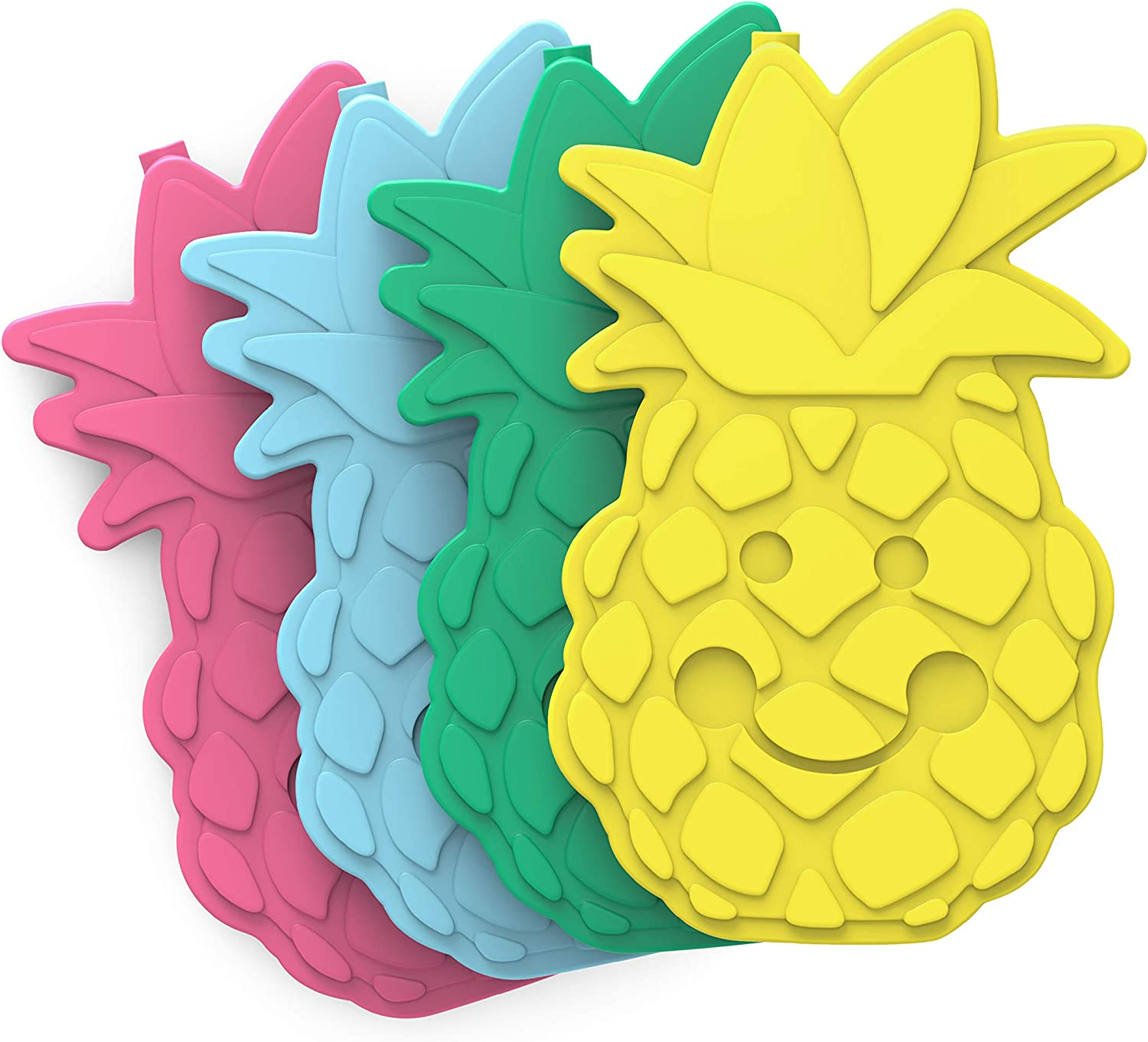 Bentgo Buddies Reusable Ice Packs - Slim Ice Packs for Lunch Boxes, Lunch Bags and Coolers - Multicolored 4 Pack (Pineapple)