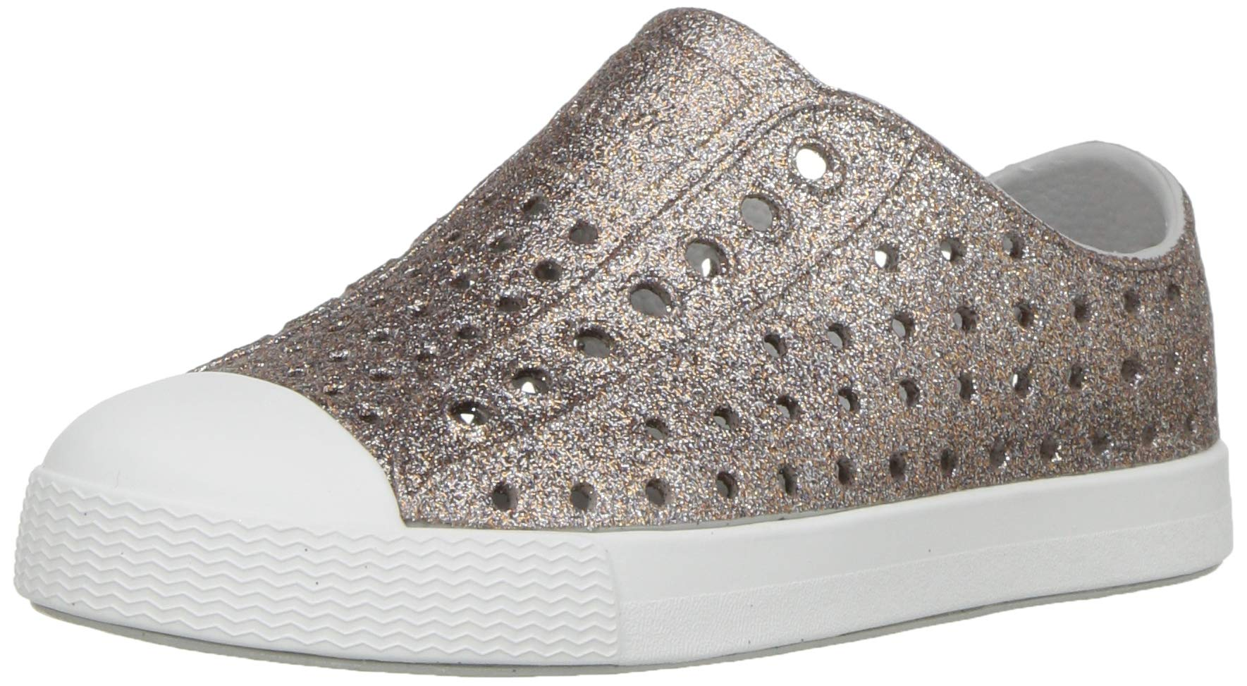 Native Kids Shoes Baby Girl's Jefferson Bling (4 M US, Metal Bling/Shell White)