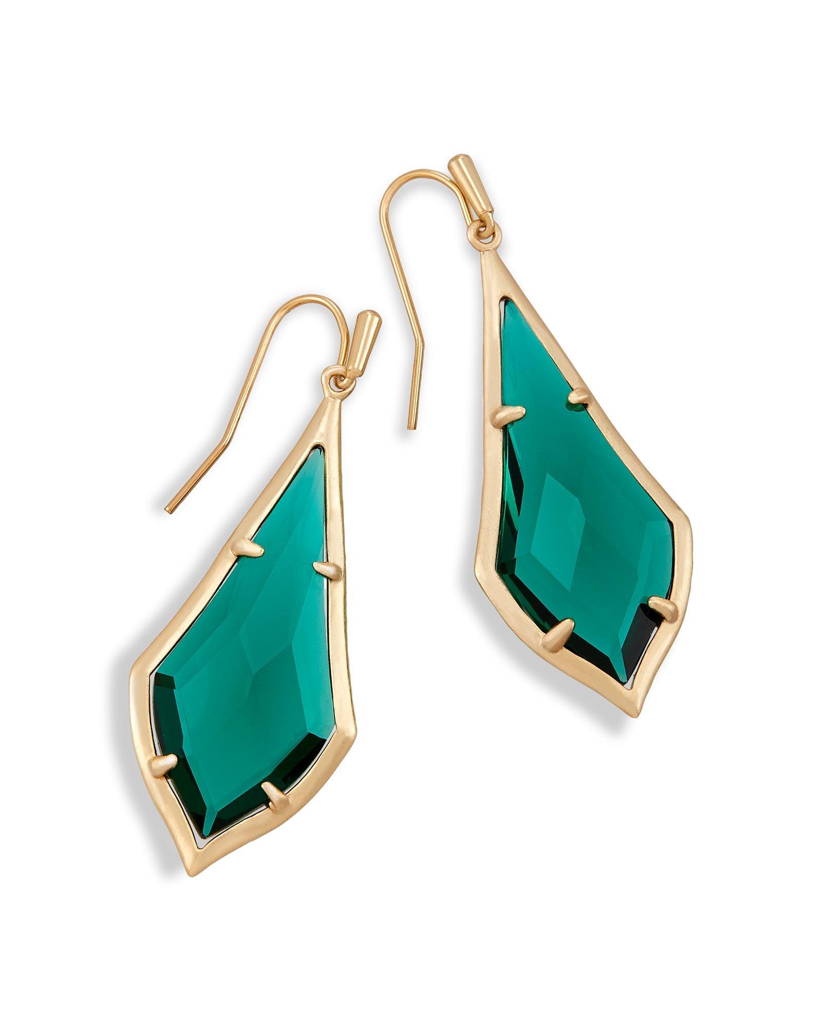 Kendra Scott Signature Olivia Drop Earrings In Emerald Glass