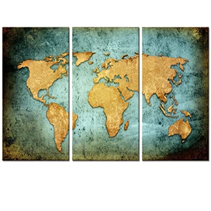 Amazon large size vintage world map poster printed on canvas large size vintage world map poster printed on canvasblue sea yellow map printing mural gumiabroncs Images