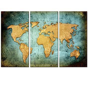 Amazon large size vintage world map poster printed on canvas large size vintage world map poster printed on canvasblue sea yellow map printing mural gumiabroncs Choice Image