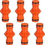 6 Pack Double Male Hose Connectors Extender for Join Garden Hose Pipe Tube (Orange)