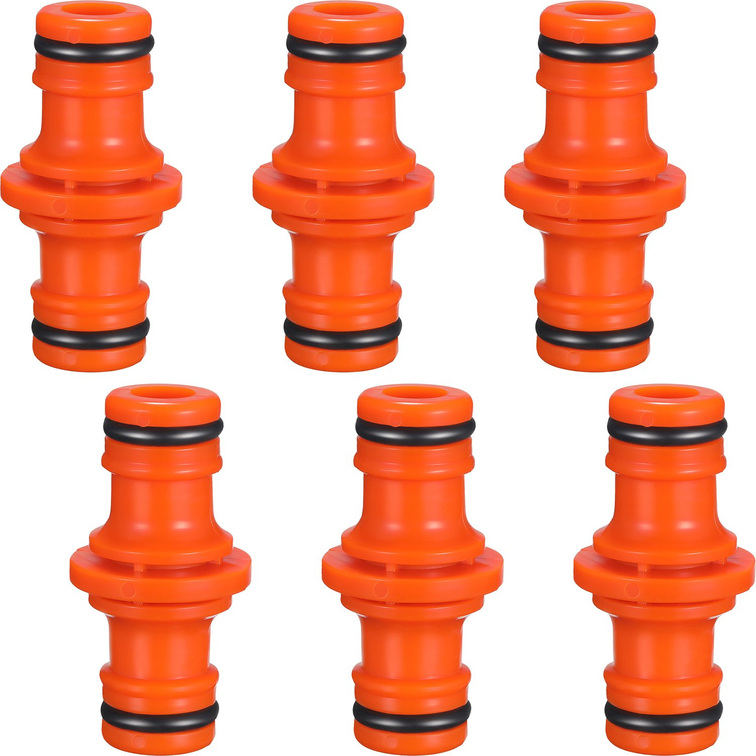 6 Pack Double Male Hose Connectors Extender for Join Garden Hose Pipe Tube (Orange) Hotop