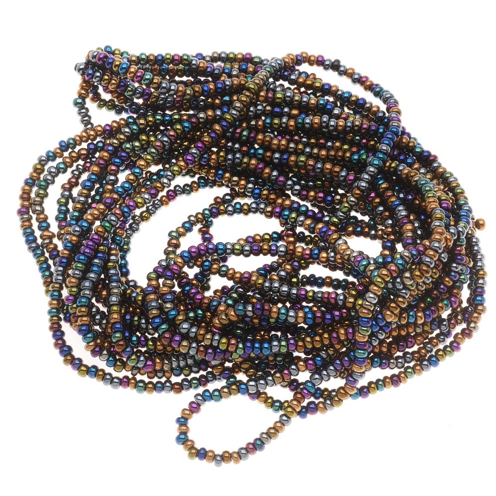 BeadaholiqueCA 1/2-Hank Czech Seed Beads Mix, Size 11/0, Heavy Metal Metallic Blue/Green/Purple SB11-MIX23