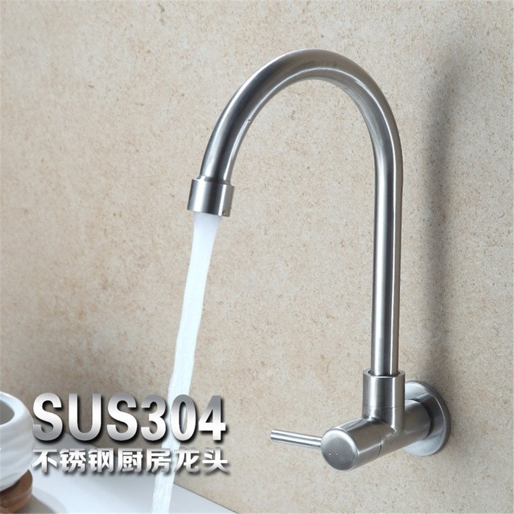 Kitchen faucet stainless steel single cold round 304 stainless steel sink sink wall-mounted