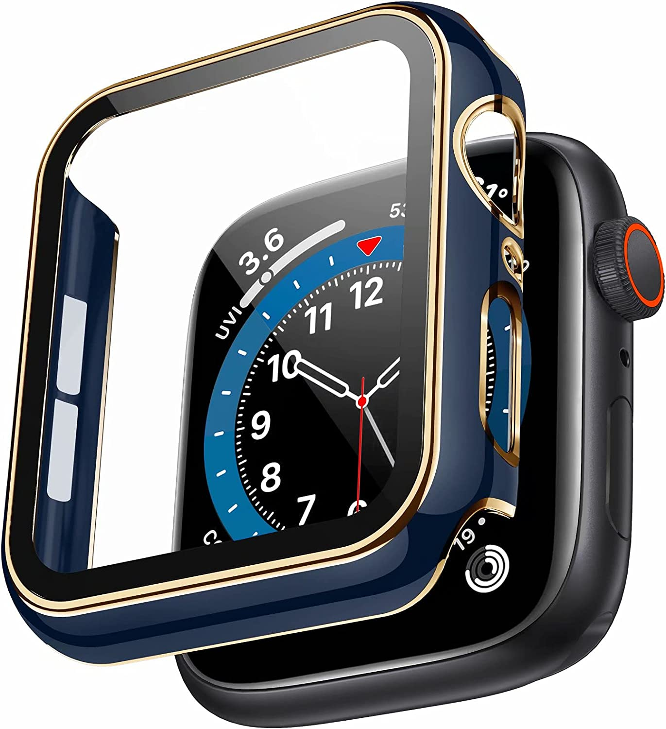 Swhatty Case Compatible with Apple Watch 44mm 40mm 42mm 38mm, Bumper Built in Tempered Glass Screen Protector, Protective Cover for iWatch Series SE 6 5 4 3 2 1 Women Men (Light Gold Edge Blue, 38mm)