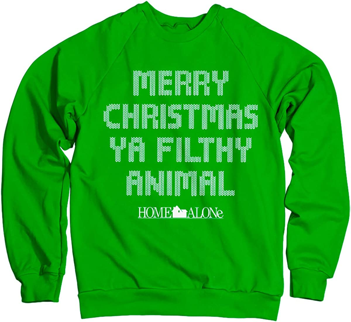 Officially Licensed Merry Christmas Ya Filthy Animal Sweatshirt (Green)