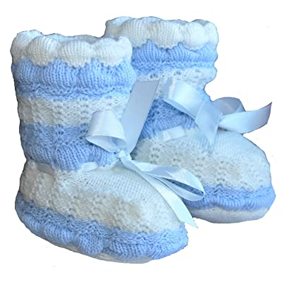 Handmade Delightful Baby Boy Booties, Size 3-12 M, Color: Blue/white