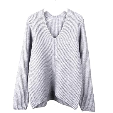Image Unavailable. Image not available for. Color  HUIYA Womens Fashion Big  V-Neck Pullover Loose Sexy Rib Wool Cashmere Knit Sweater Winter b1762d513