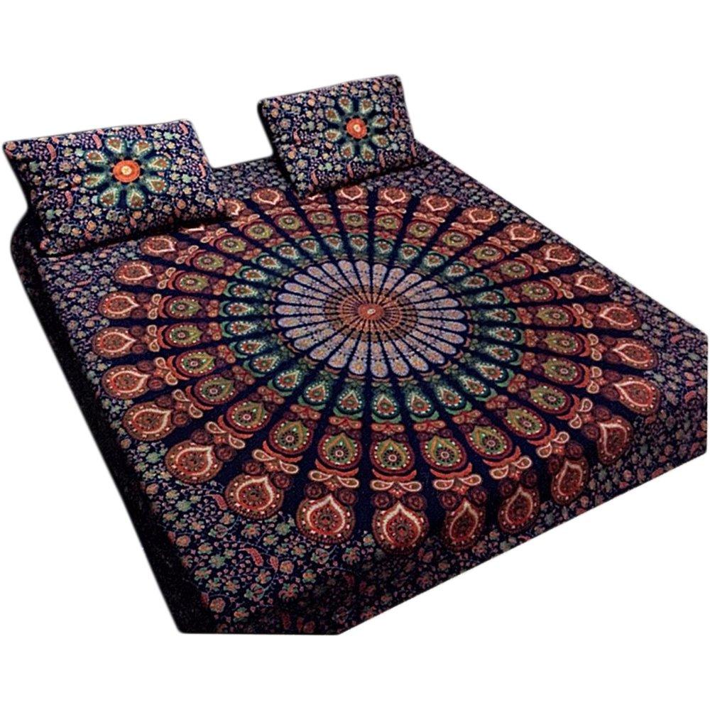 Bohemian Peacock Paisley Print Cotton Bedspread Bedding 3 Pcs Set King Size by Padma Craft (Image #1)